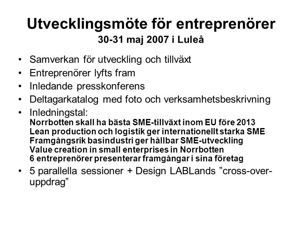 Utvecklingsmöte för entreprenörer 30-31 maj 2007 i Luleå