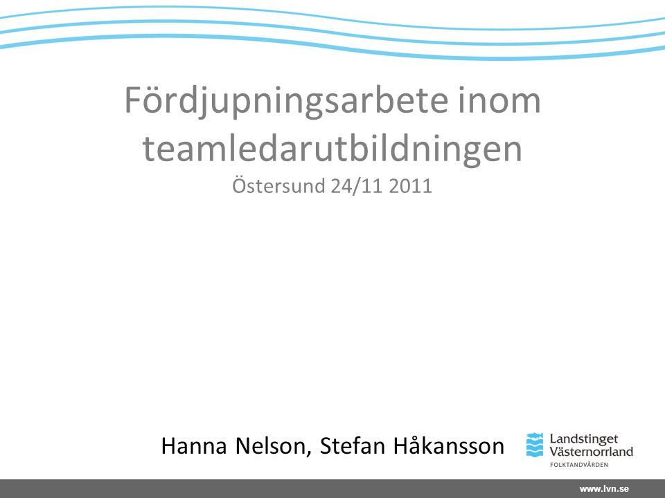 Fördjupningsarbete inom teamledarutbildningen Östersund 24/11 2011