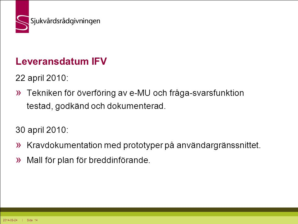 Leveransdatum IFV 22 april 2010: