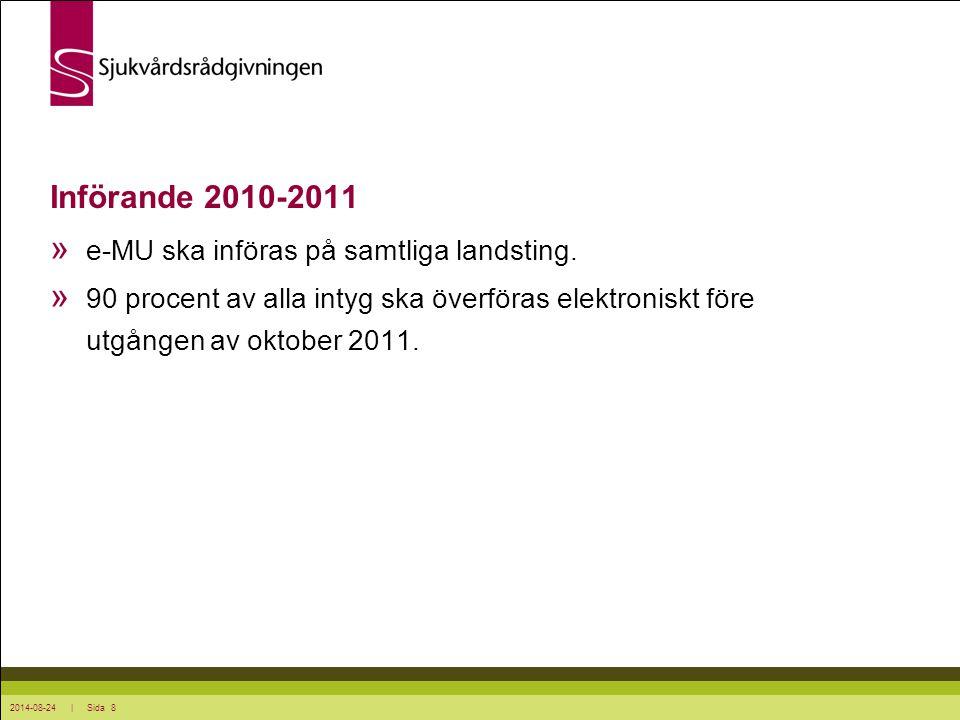 Införande 2010-2011 e-MU ska införas på samtliga landsting.
