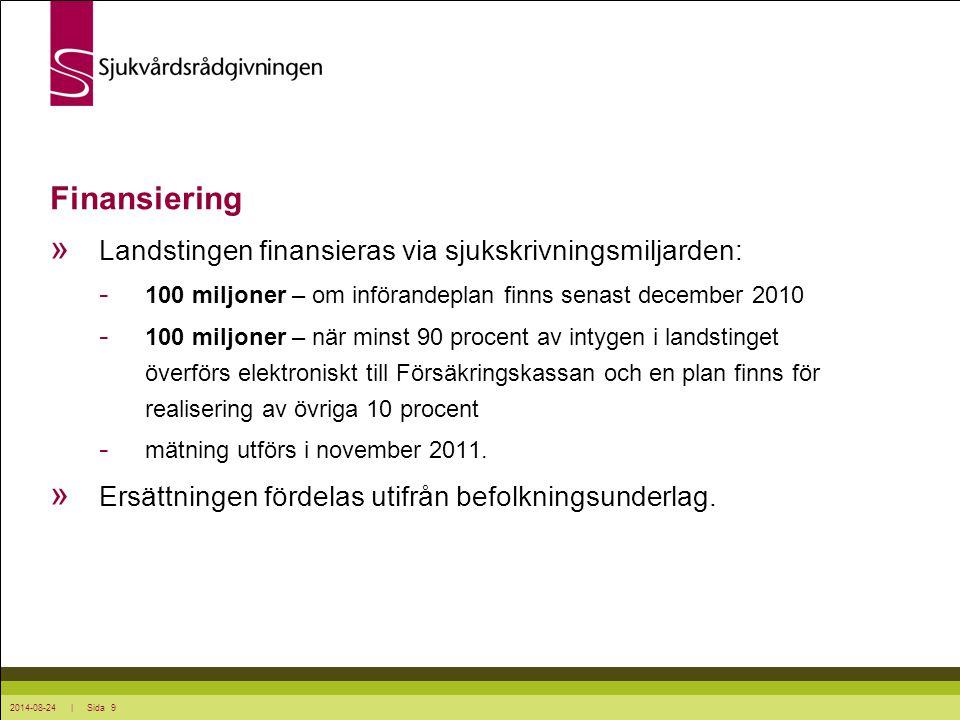 Finansiering Landstingen finansieras via sjukskrivningsmiljarden: