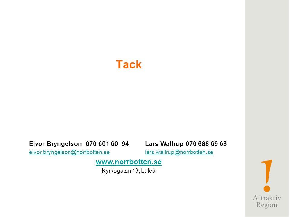 Tack Eivor Bryngelson 070 601 60 94 Lars Wallrup 070 688 69 68. eivor.bryngelson@norrbotten.se lars.wallrup@norrbotten.se.
