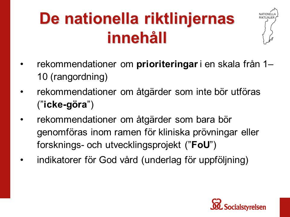 De nationella riktlinjernas