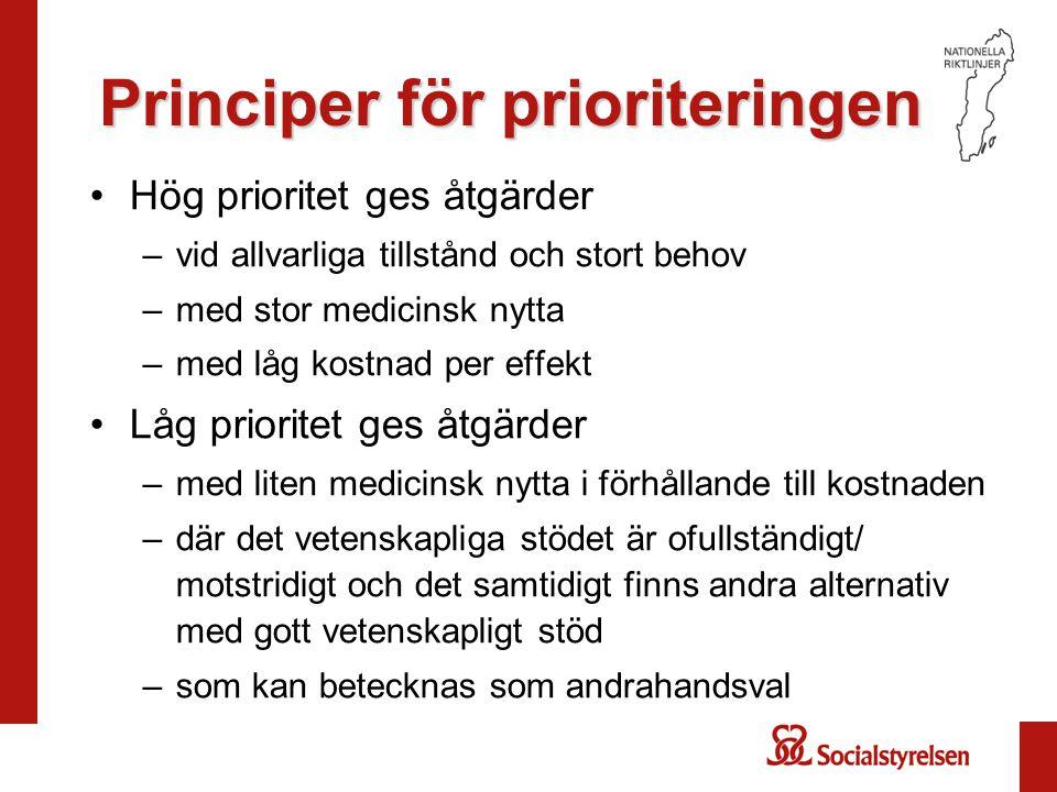 Principer för prioriteringen