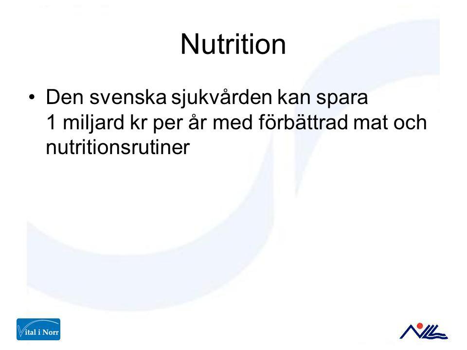 Nutrition Den svenska sjukvården kan spara 1 miljard kr per år med förbättrad mat och nutritionsrutiner.