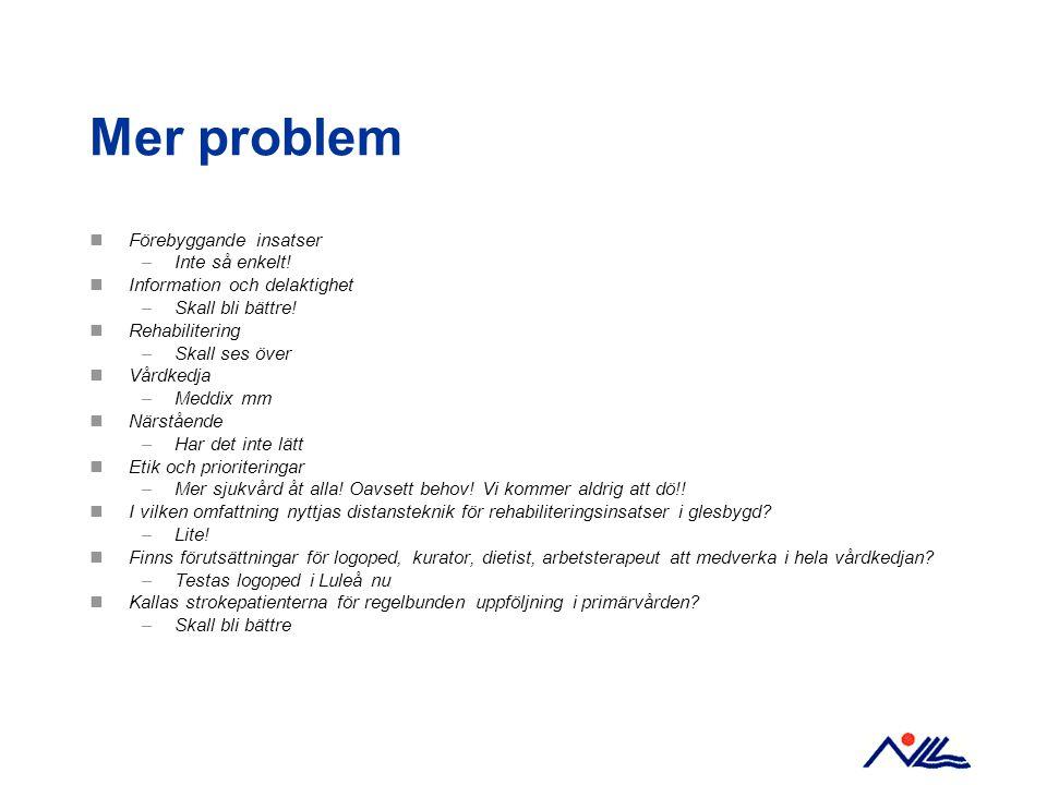 Mer problem Förebyggande insatser Inte så enkelt!
