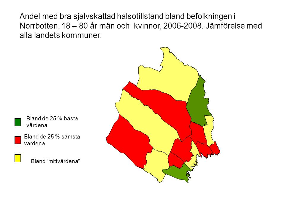 Andel med bra självskattad hälsotillstånd bland befolkningen i Norrbotten, 18 – 80 år män och kvinnor, 2006-2008. Jämförelse med alla landets kommuner.