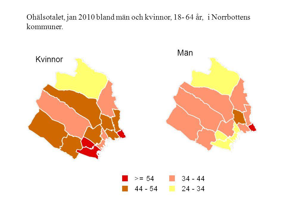 Ohälsotalet, jan 2010 bland män och kvinnor, 18- 64 år, i Norrbottens kommuner.
