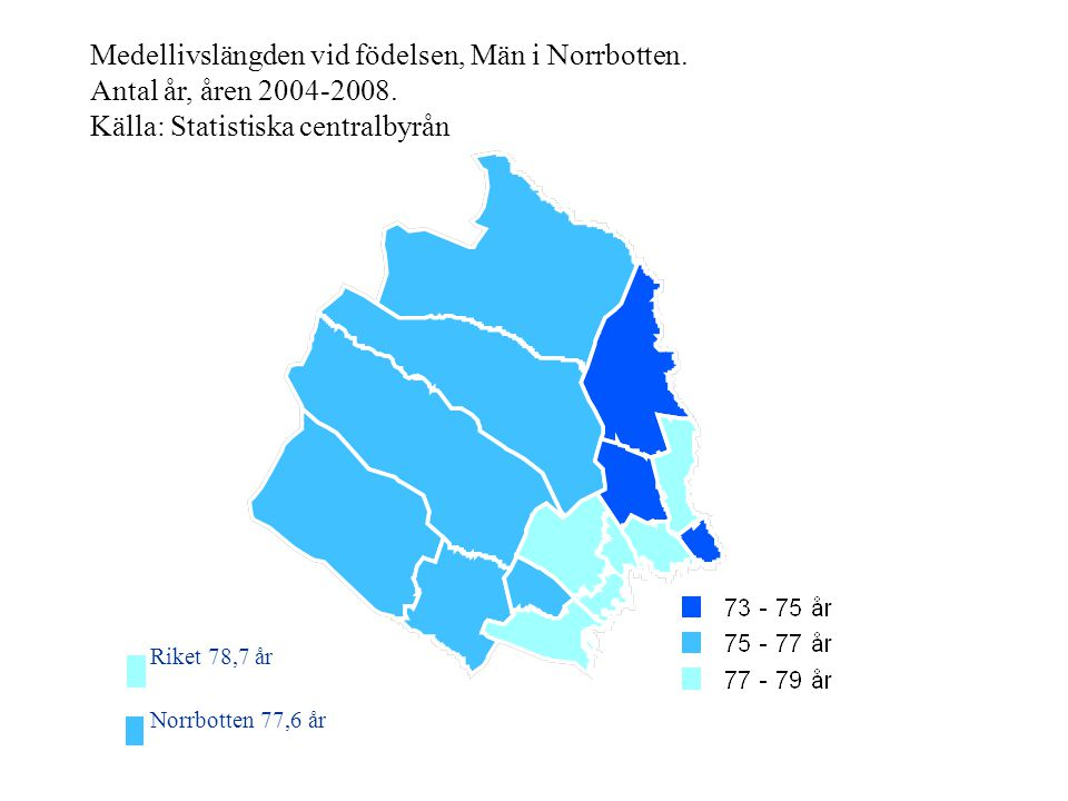 Medellivslängden vid födelsen, Män i Norrbotten
