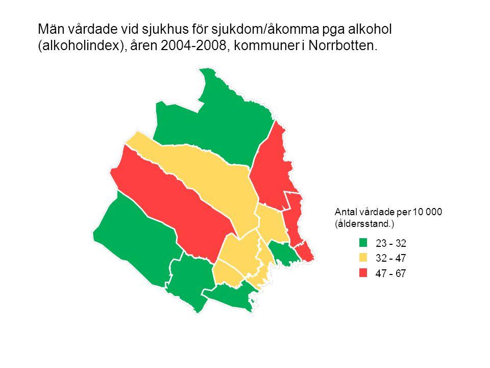 Män vårdade vid sjukhus för sjukdom/åkomma pga alkohol (alkoholindex), åren 2004-2008, kommuner i Norrbotten.