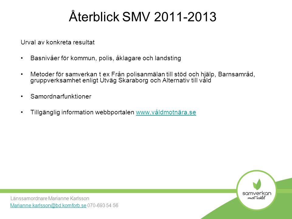 Återblick SMV 2011-2013 Urval av konkreta resultat