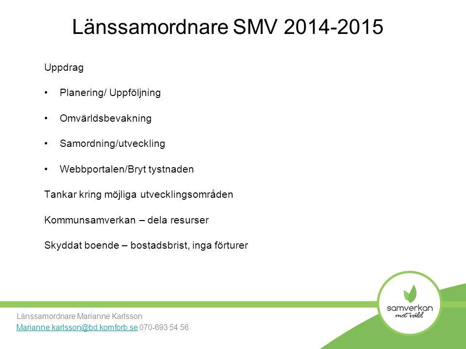 Länssamordnare SMV 2014-2015 Uppdrag Planering/ Uppföljning