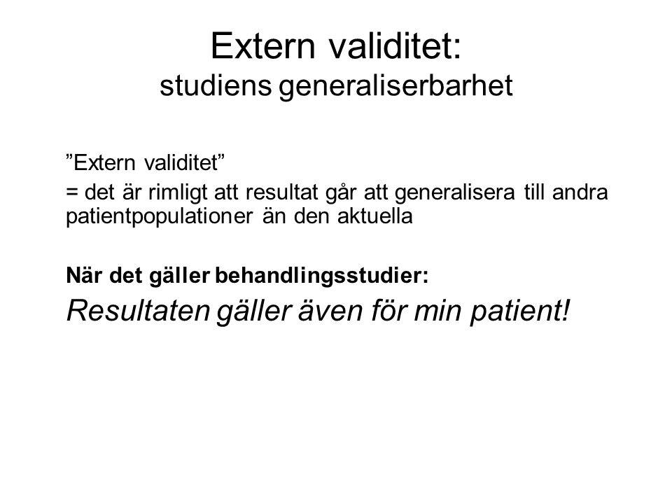 Extern validitet: studiens generaliserbarhet