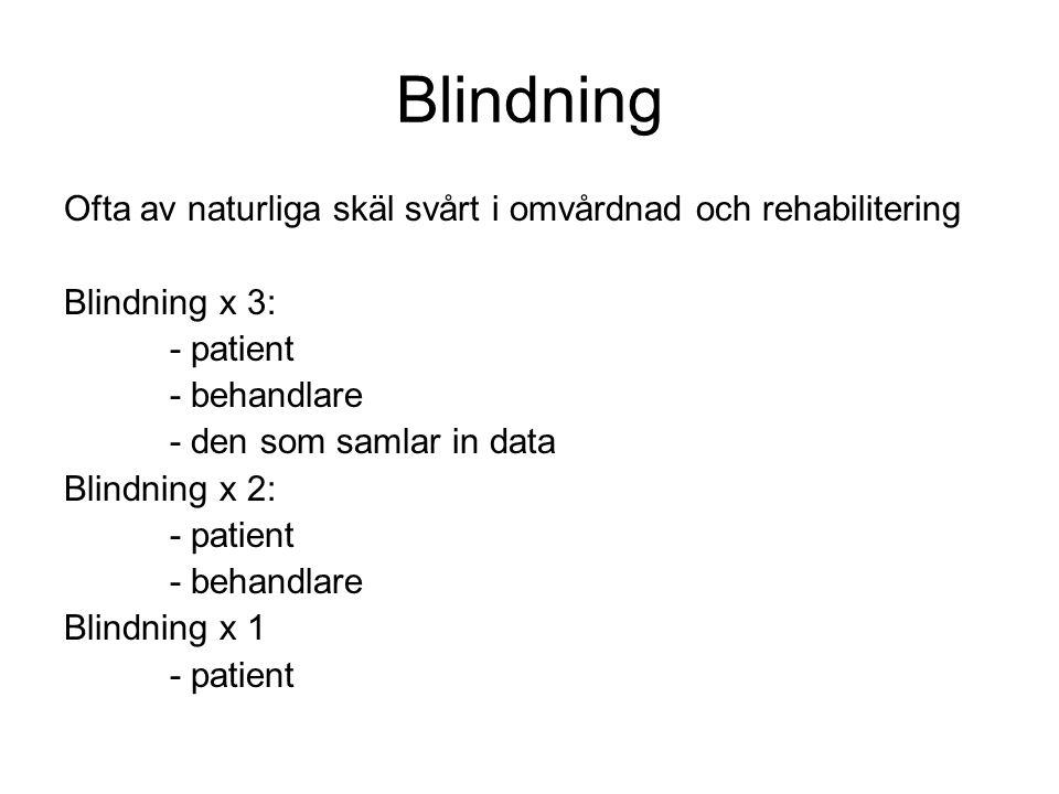Blindning Ofta av naturliga skäl svårt i omvårdnad och rehabilitering