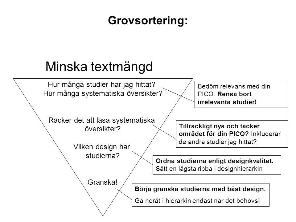 Minska textmängd Grovsortering: Hur många studier har jag hittat