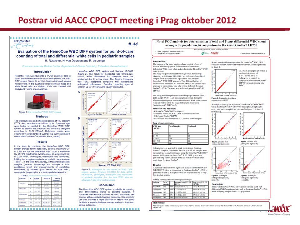 Postrar vid AACC CPOCT meeting i Prag oktober 2012