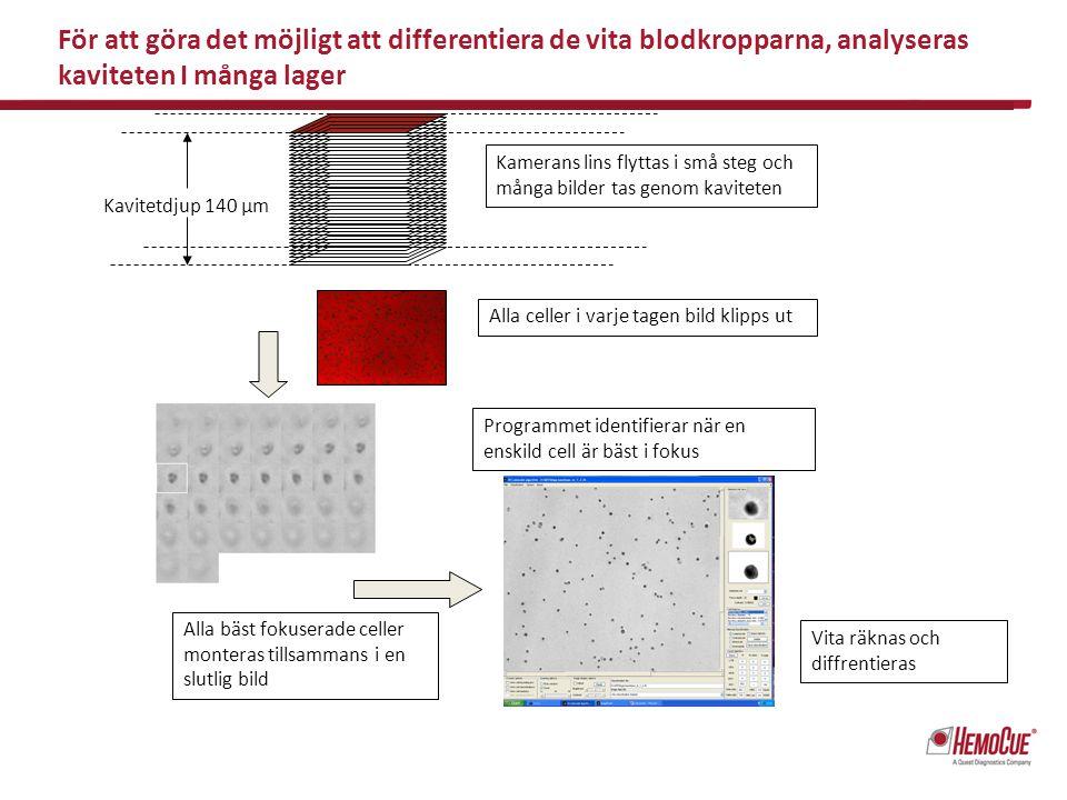 För att göra det möjligt att differentiera de vita blodkropparna, analyseras kaviteten I många lager