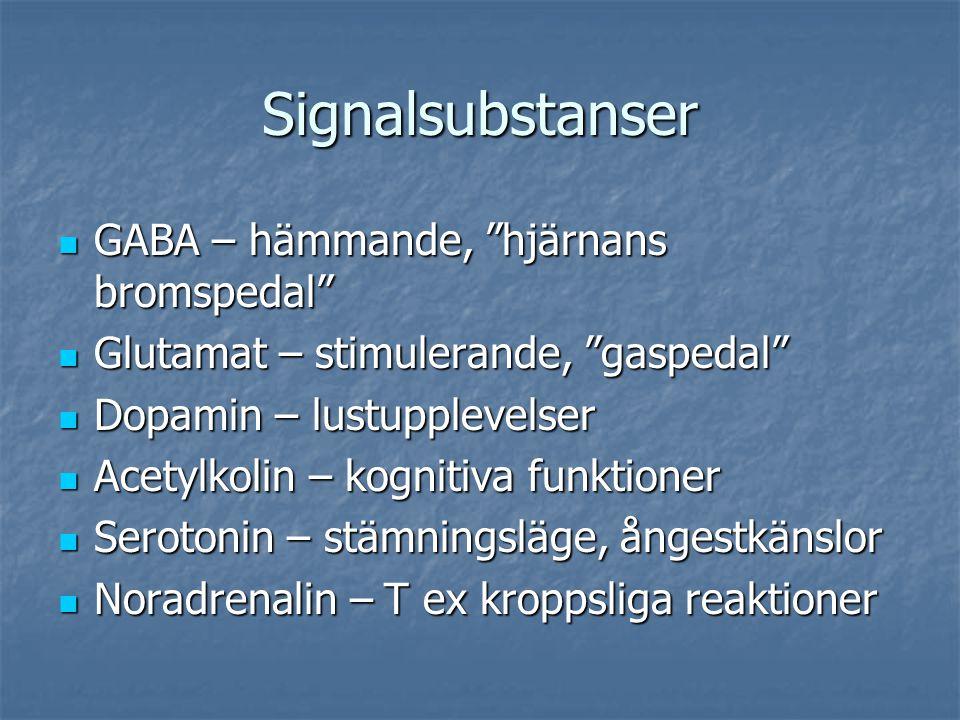 Signalsubstanser GABA – hämmande, hjärnans bromspedal