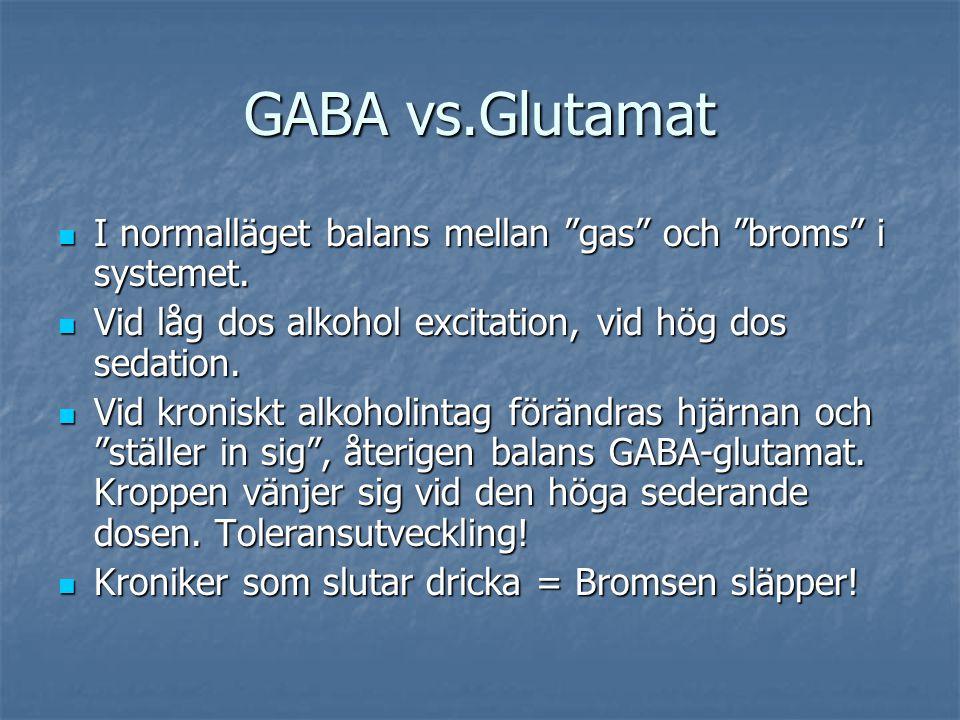 GABA vs.Glutamat I normalläget balans mellan gas och broms i systemet. Vid låg dos alkohol excitation, vid hög dos sedation.