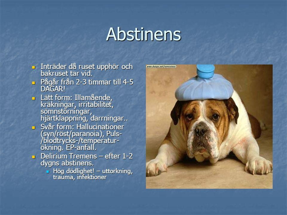Abstinens Inträder då ruset upphör och bakruset tar vid.