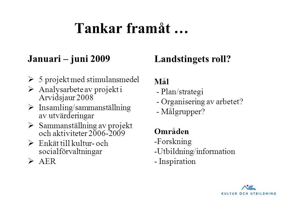 Tankar framåt … Landstingets roll Januari – juni 2009 Mål