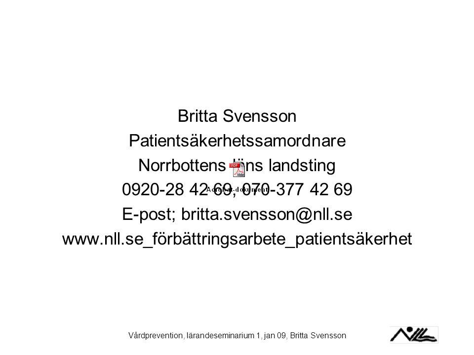Patientsäkerhetssamordnare Norrbottens läns landsting