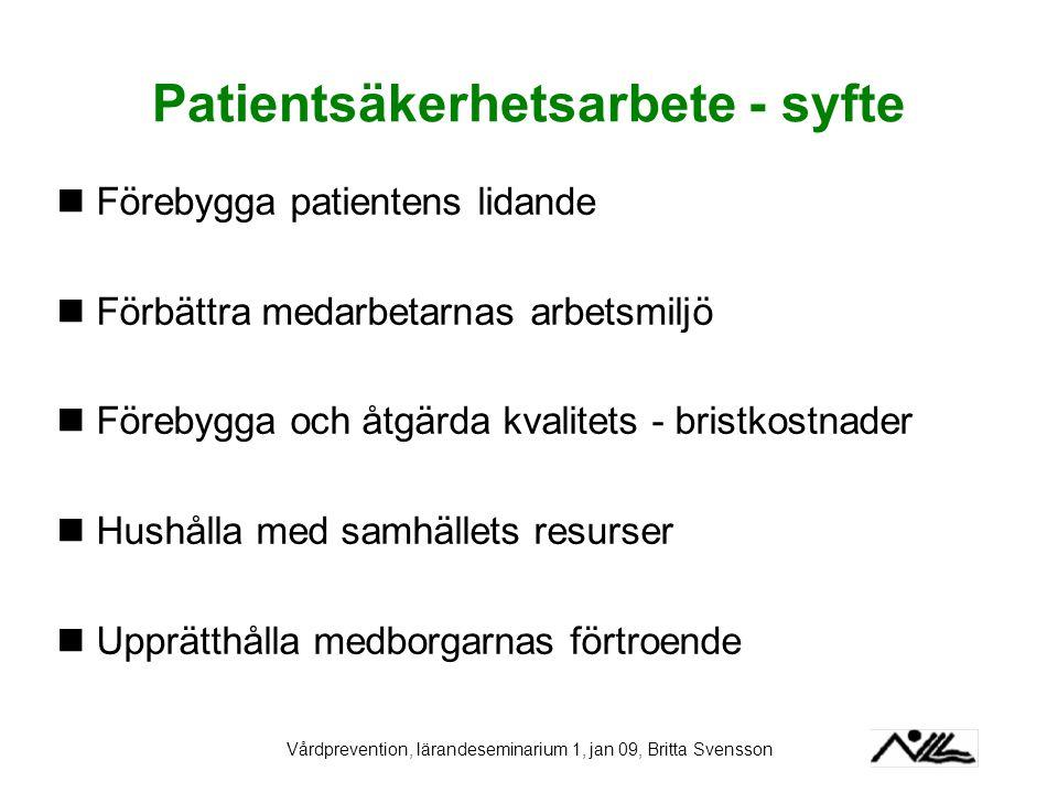 Patientsäkerhetsarbete - syfte