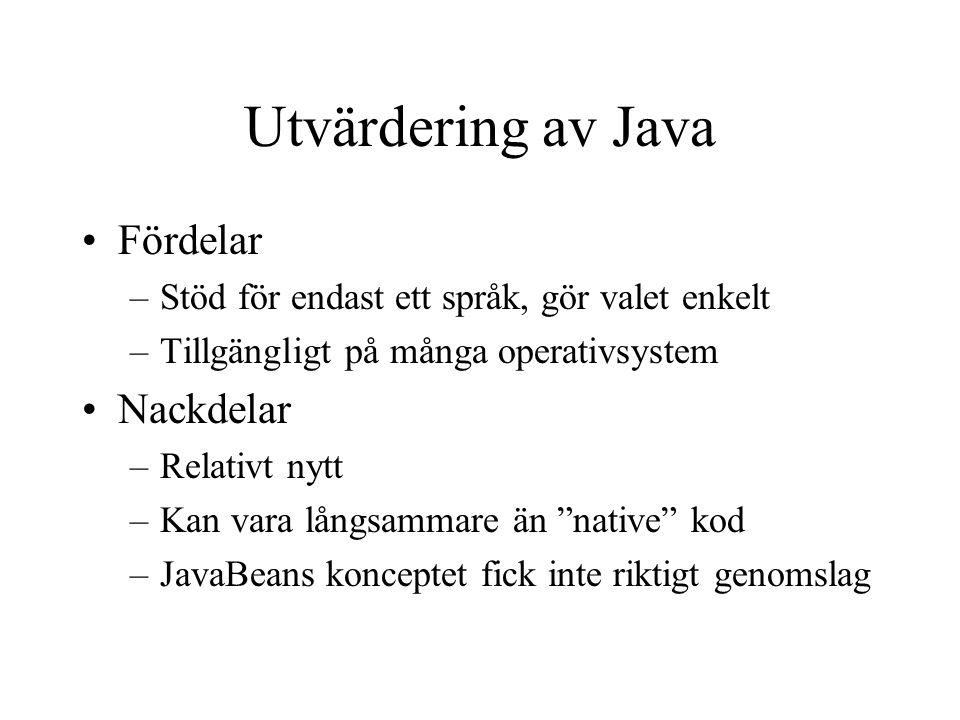 Utvärdering av Java Fördelar Nackdelar