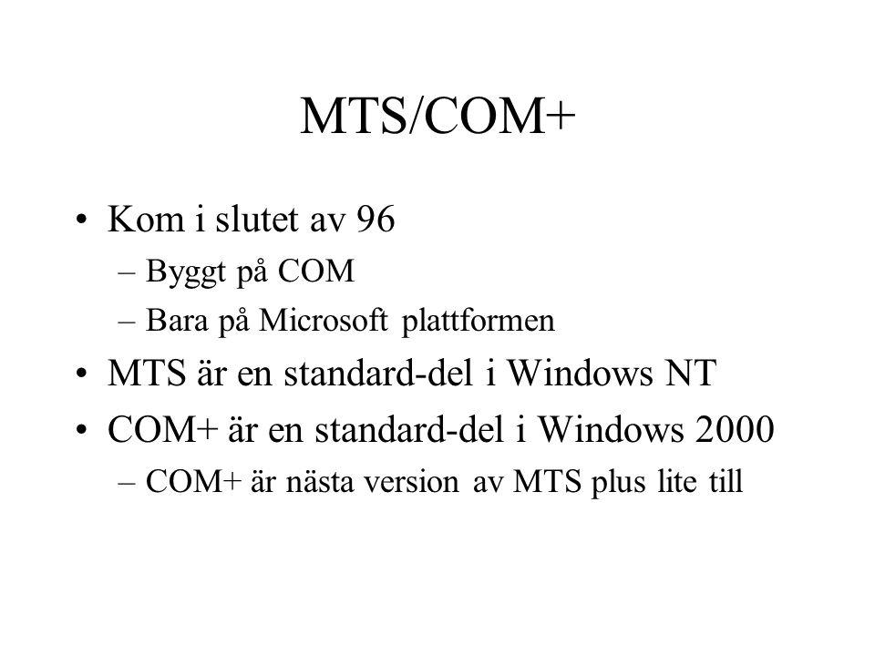 MTS/COM+ Kom i slutet av 96 MTS är en standard-del i Windows NT
