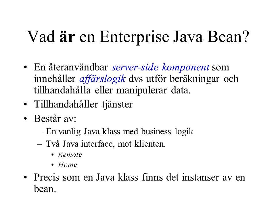 Vad är en Enterprise Java Bean