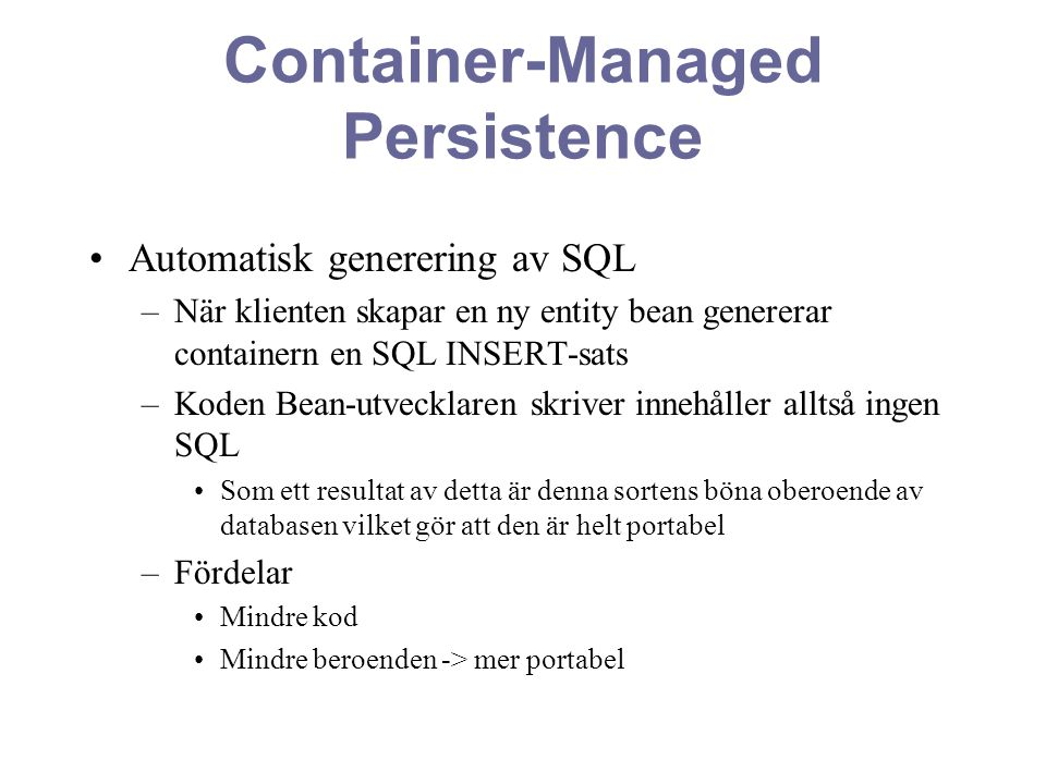 Container-Managed Persistence