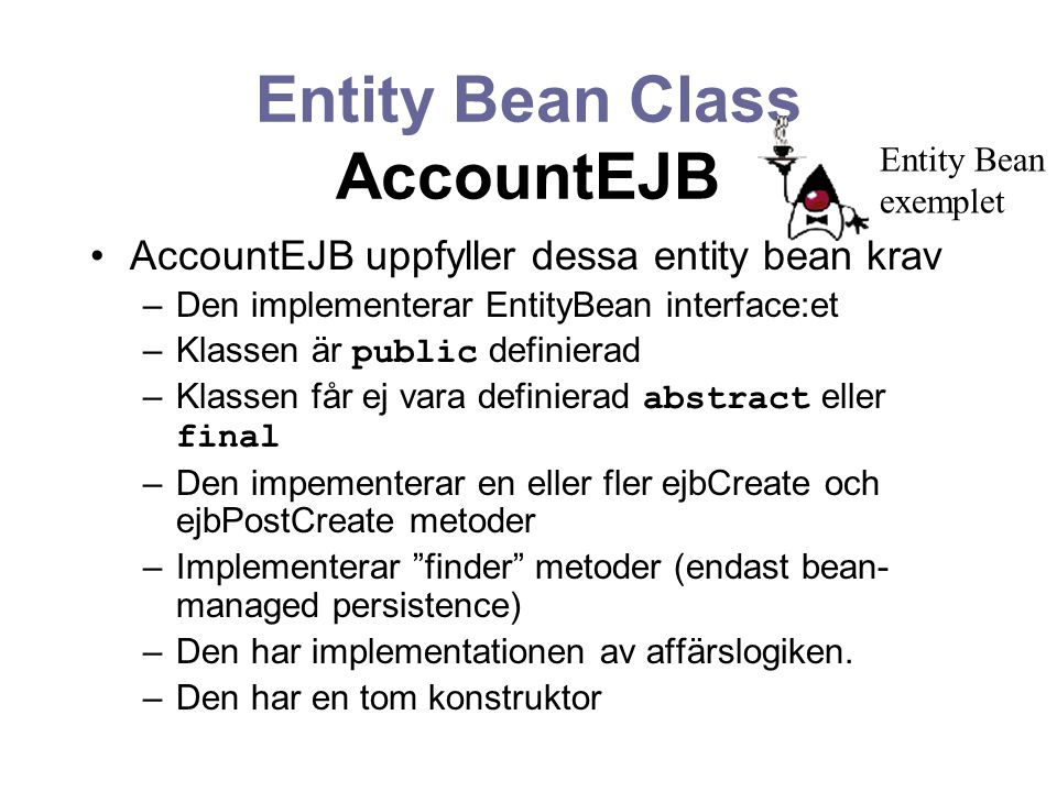 Entity Bean Class AccountEJB