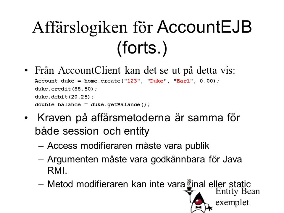 Affärslogiken för AccountEJB (forts.)