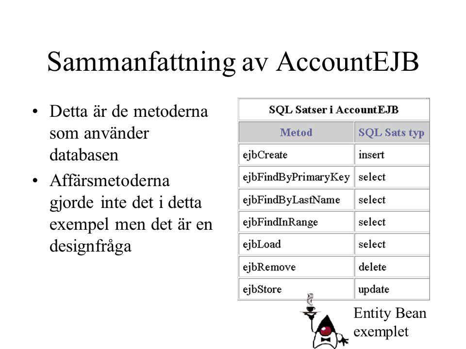 Sammanfattning av AccountEJB