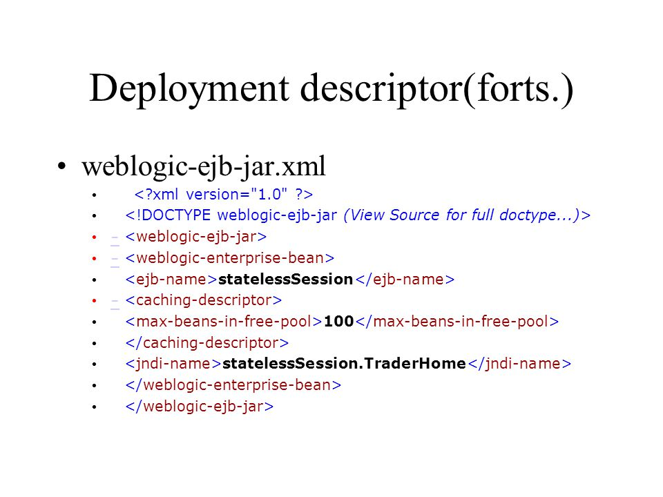 Deployment descriptor(forts.)