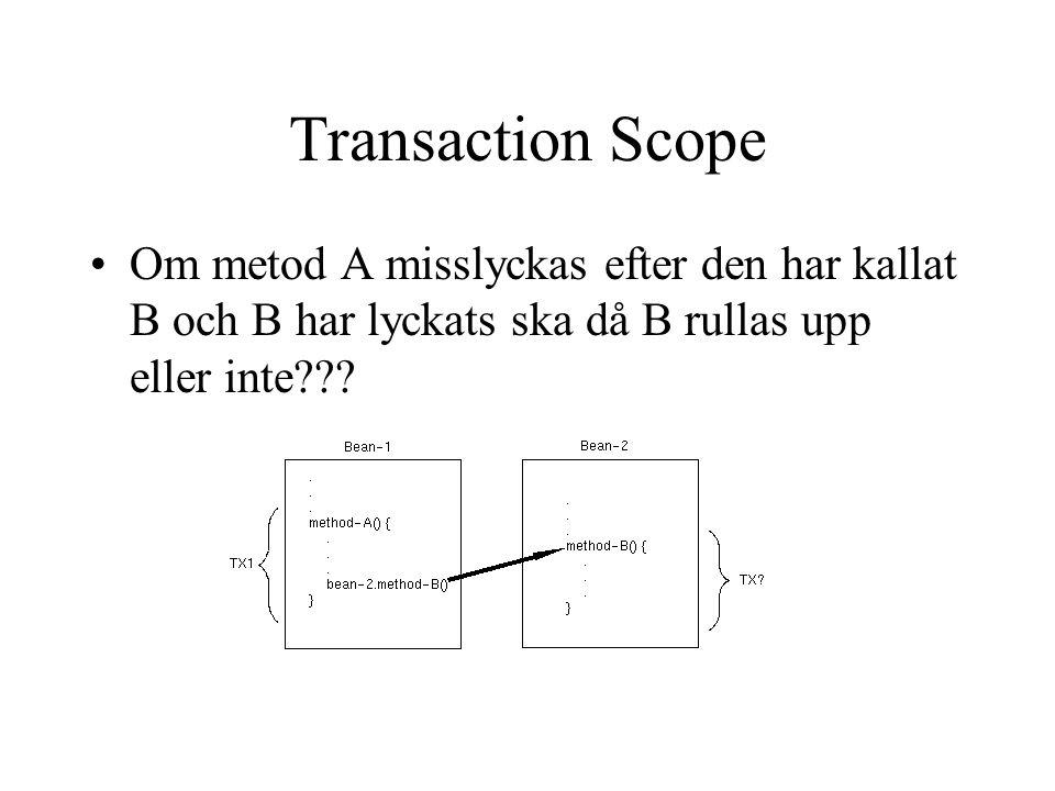Transaction Scope Om metod A misslyckas efter den har kallat B och B har lyckats ska då B rullas upp eller inte