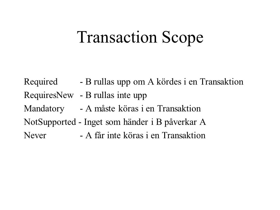 Transaction Scope Required - B rullas upp om A kördes i en Transaktion