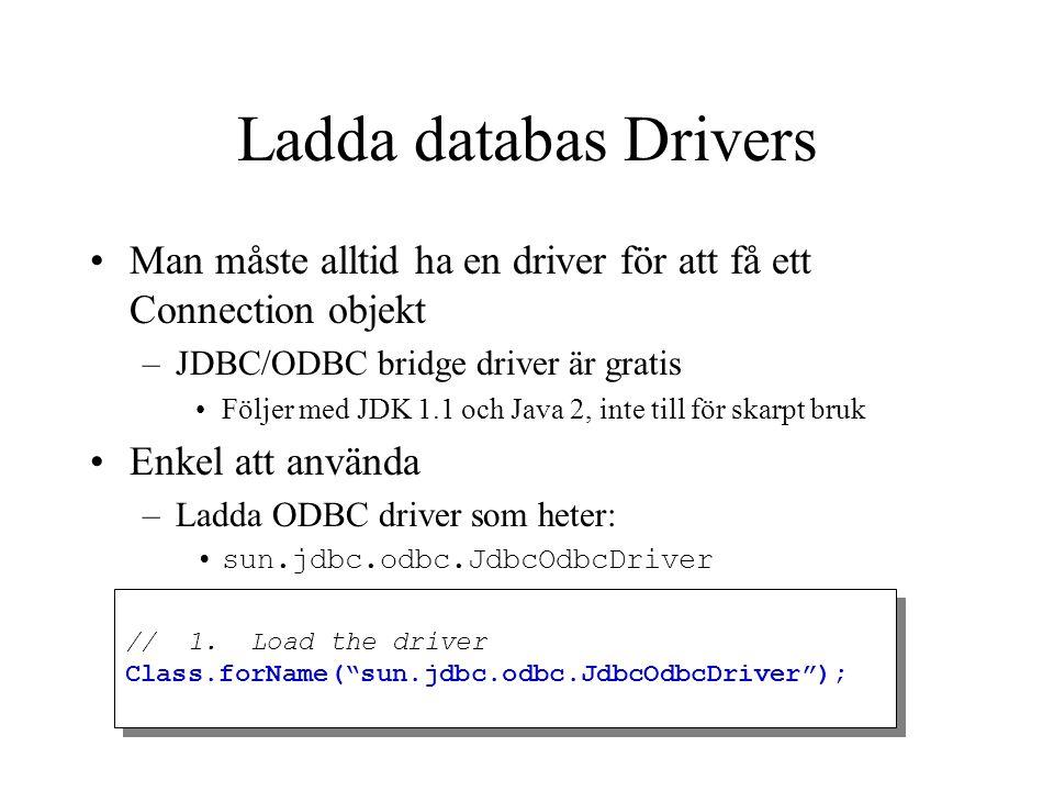 Ladda databas Drivers Man måste alltid ha en driver för att få ett Connection objekt. JDBC/ODBC bridge driver är gratis.