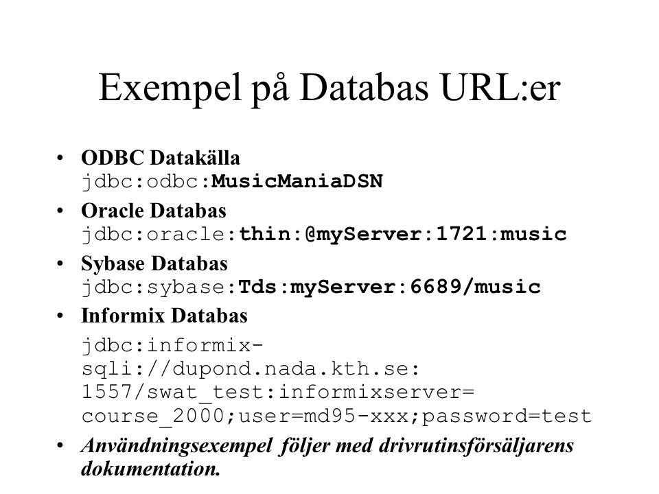 Exempel på Databas URL:er