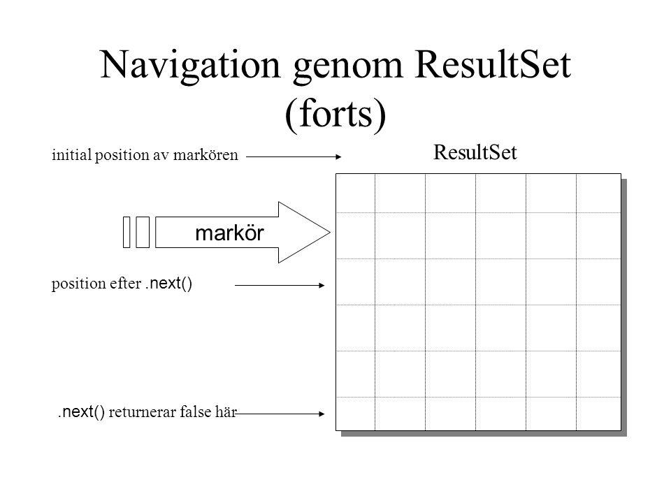 Navigation genom ResultSet (forts)