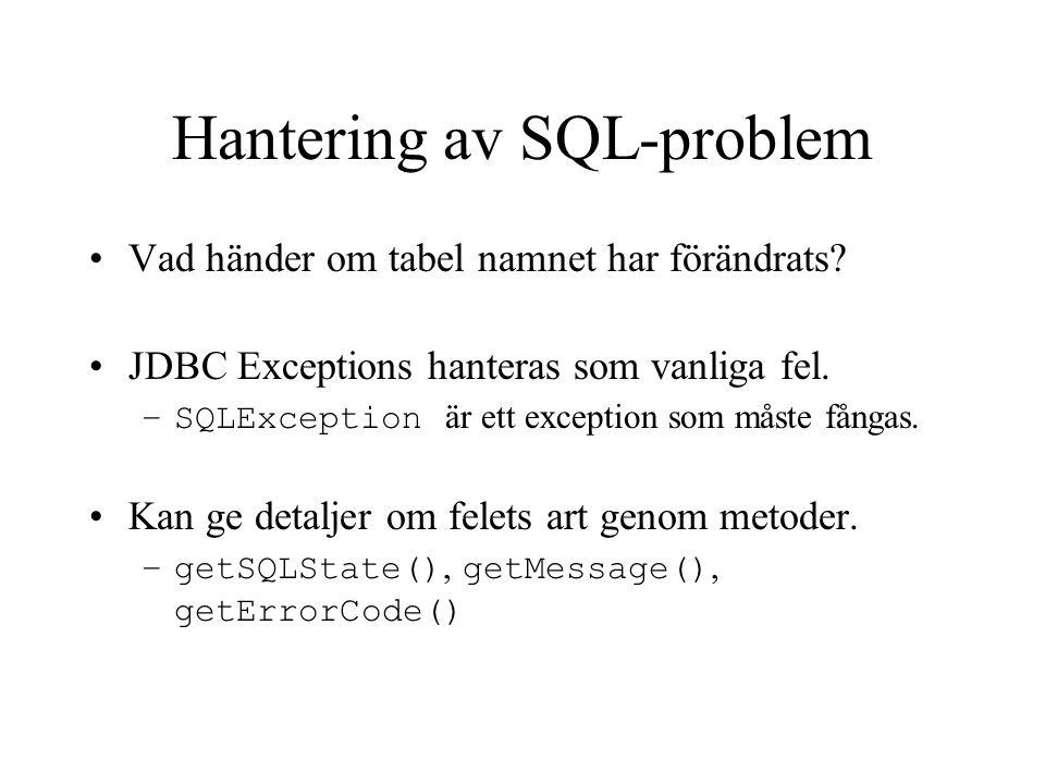 Hantering av SQL-problem