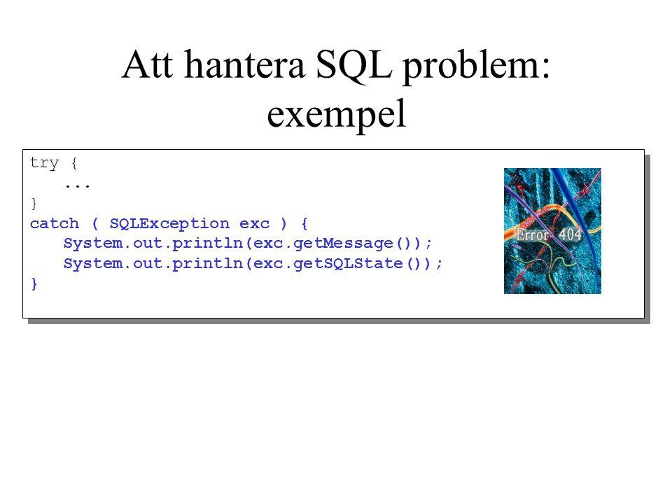 Att hantera SQL problem: exempel