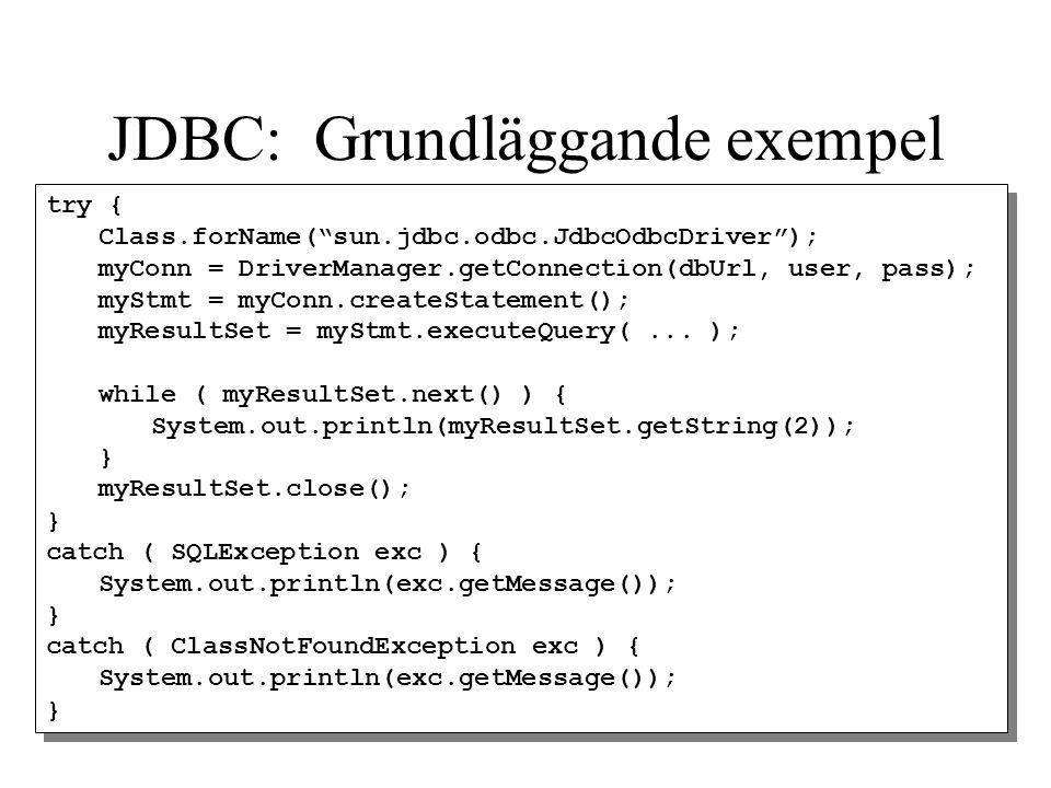 JDBC: Grundläggande exempel