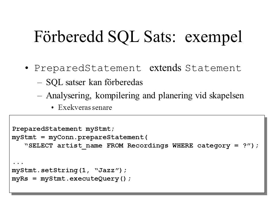 Förberedd SQL Sats: exempel