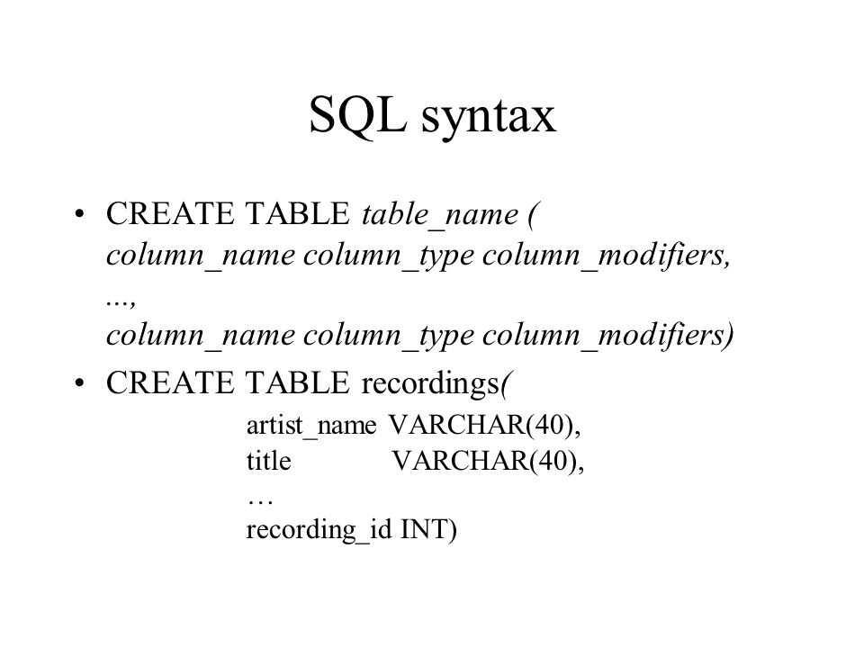 SQL syntax CREATE TABLE table_name ( column_name column_type column_modifiers, ..., column_name column_type column_modifiers)