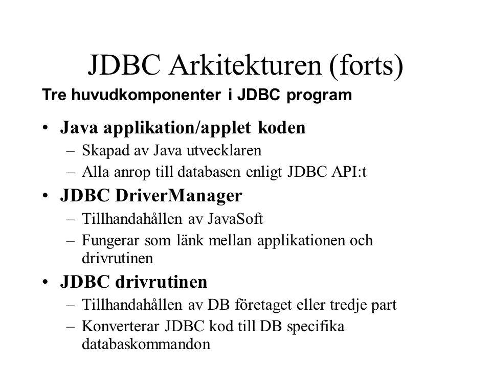 JDBC Arkitekturen (forts)