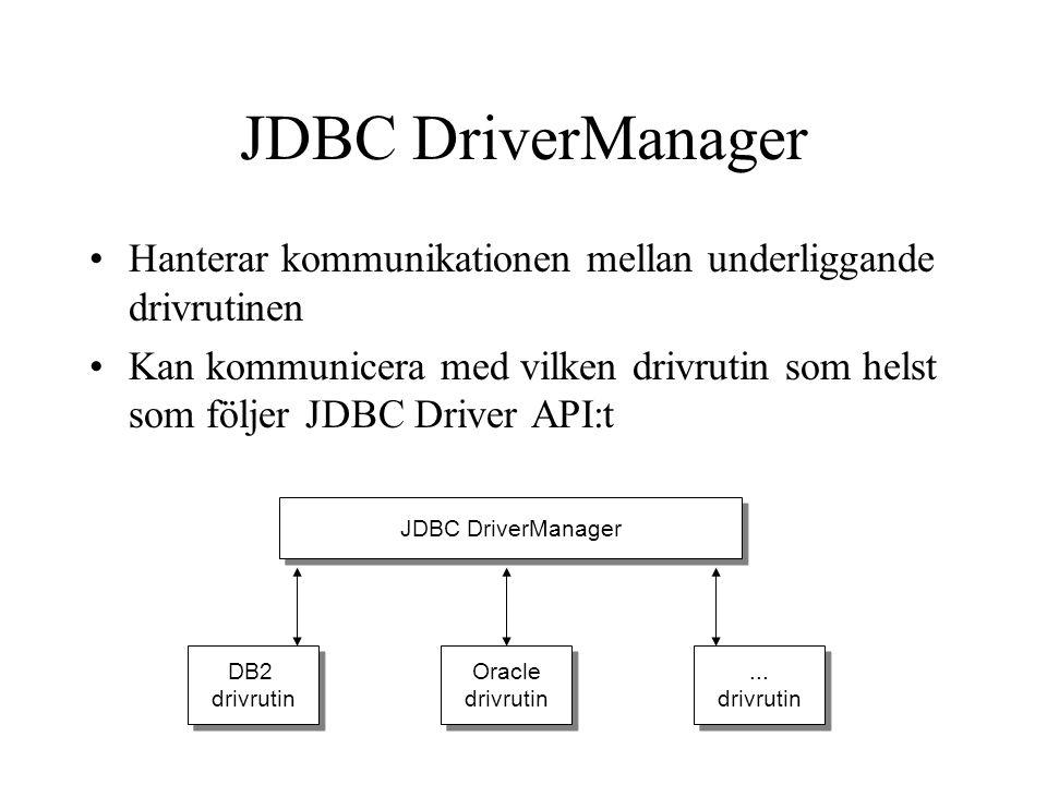 JDBC DriverManager Hanterar kommunikationen mellan underliggande drivrutinen.