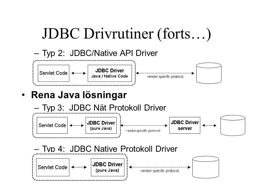 JDBC Drivrutiner (forts…)