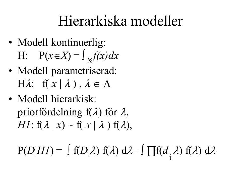 Hierarkiska modeller Modell kontinuerlig: H: P(xX) = ∫ f(x)dx