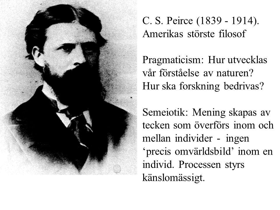 C. S. Peirce (1839 - 1914). Amerikas störste filosof Pragmaticism: Hur utvecklas
